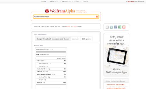 wolfram alpha mac and cheese search