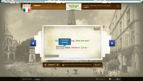 mango languages french lesson screen