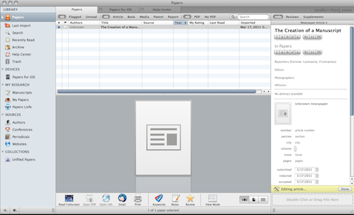 papers screenshot manuscript creator